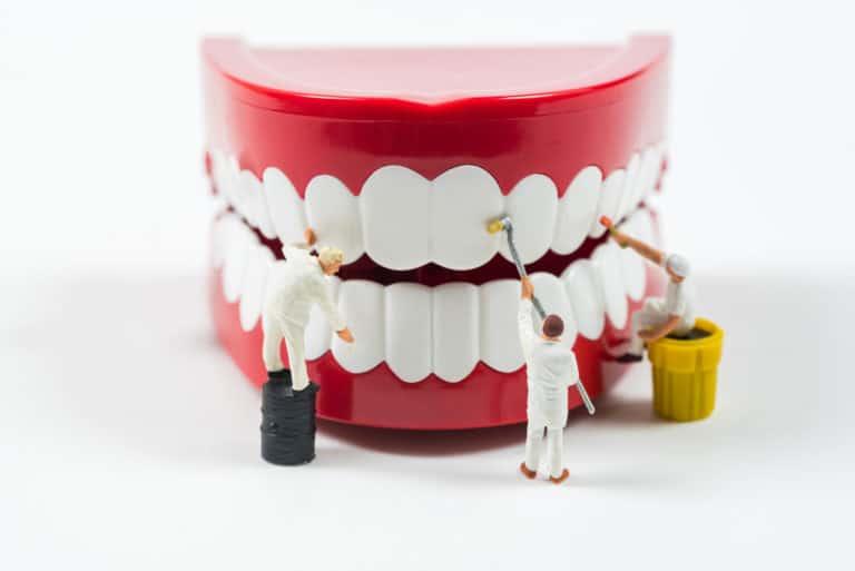 אנשים מנקים שיניים לא אמיתיות